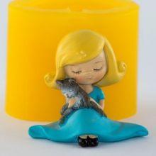 Форма для мыла Девочка с котенком 3D (силикон)