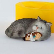 Форма для мыла Девочка и кот 3D (силикон)