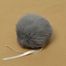 Помпон натуральный кролик № 3  Цвет Серый 8 см